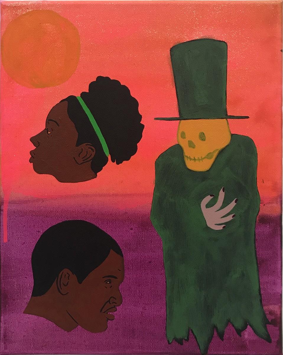 David Leggett. <em>All my friends are dead</em>, 2020. Acrylic and airbrush on canvas, 12 x 9 inches (30.5 x 22.9 cm)