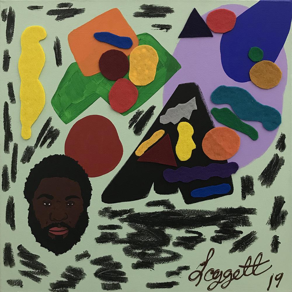 David Leggett. <em>I wasn't here</em>, 2020. Acrylic, oil bar and felt on canvas, 20 x 20 inches (50.8 x 50.8 cm)