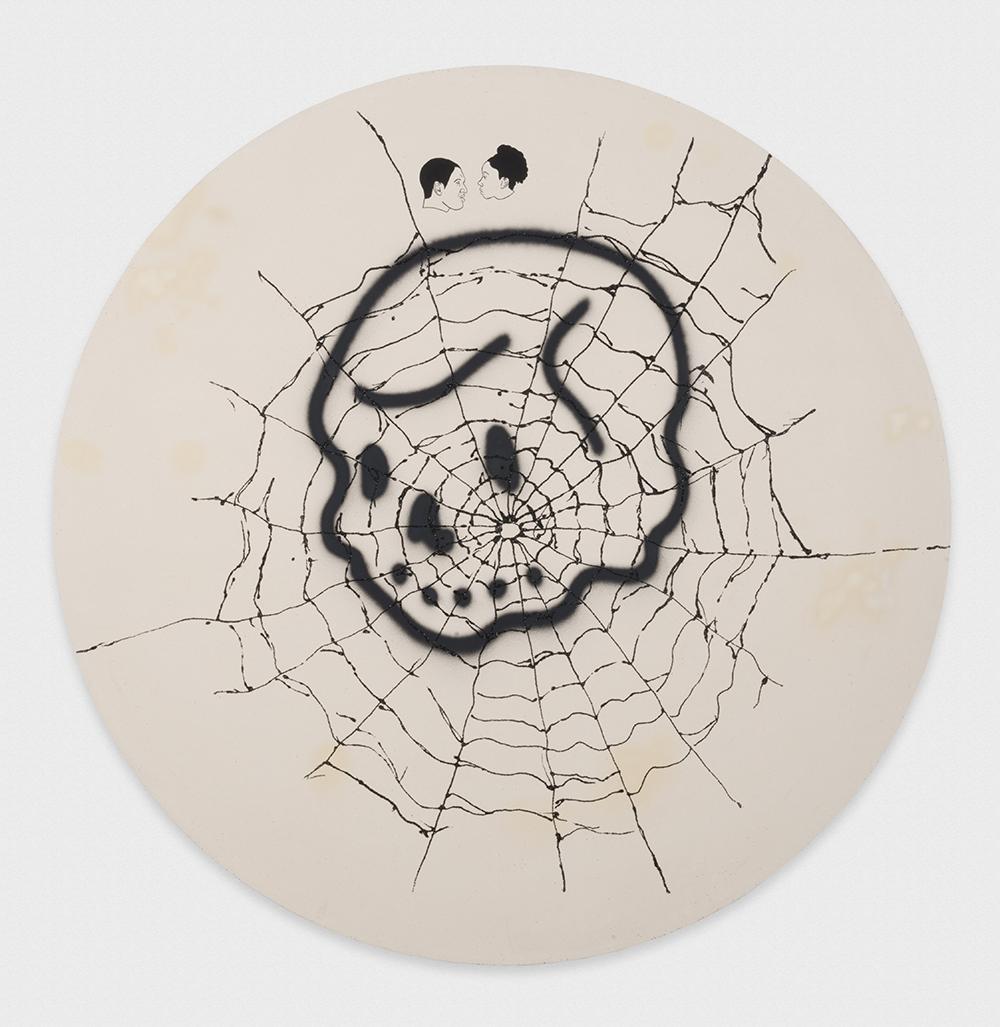 David Leggett. <em>Won't he do it?</em>, 2017. Acrylic, spray paint and glitter on canvas, 72 x 72 inches (182.9 x 182.9 cm)