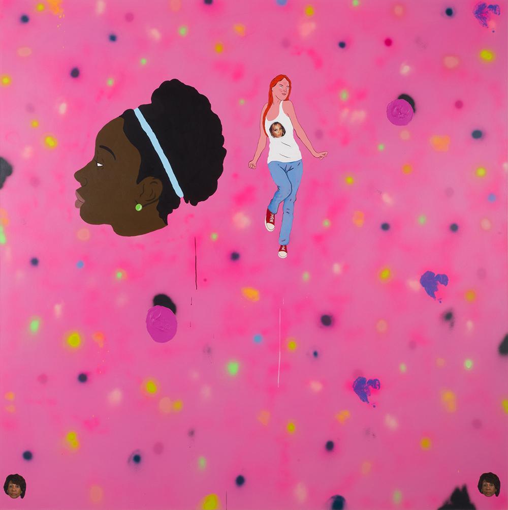 David Leggett. <em>Mmhmm</em>, 2017. Acrylic, spray paint and collage on canvas, 84 x 84 inches (213.4 x 213.4 cm)