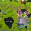 David Leggett. <em>I got it wholesale</em>, 2019. Acrylic, spray paint, color pencil and collage on paper, 48 x 42 inches (121.9 x 106.7 cm) thumbnail
