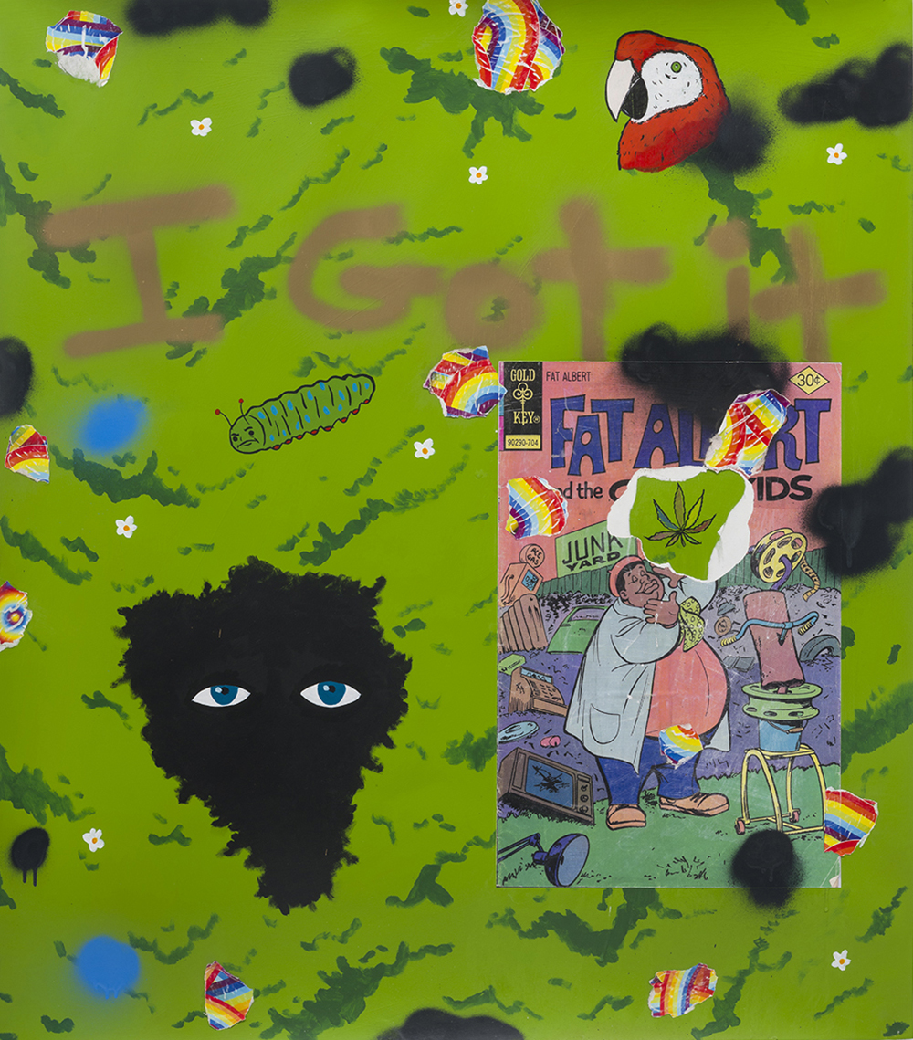 David Leggett. <em>I got it wholesale</em>, 2019. Acrylic, spray paint, color pencil and collage on paper, 48 x 42 inches (121.9 x 106.7 cm)