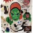David Leggett. <em>The war makeup isn't washing off. I bet you were drafted.</em>, 2020. Acrylic, screen print, pen, crayon and collage on paper, 20 x 16 inches (50.8 x 40.6 cm) thumbnail