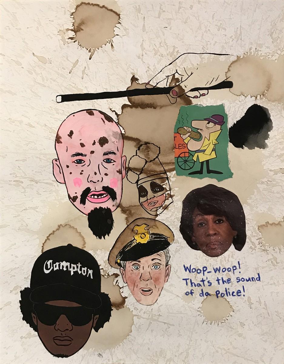 David Leggett. <em>Twelve</em>, 2020. Acrylic, screen print, watercolor, pen, crayon, coffee and collage on paper, 20 x 16 inches (50.8 x 40.6 cm)