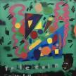 David Leggett. <em>Modern playa</em>, 2020. Acrylic, spray paint, oil bar and felt on paper, 48 x 42 inches (121.9 x 106.7 cm) thumbnail