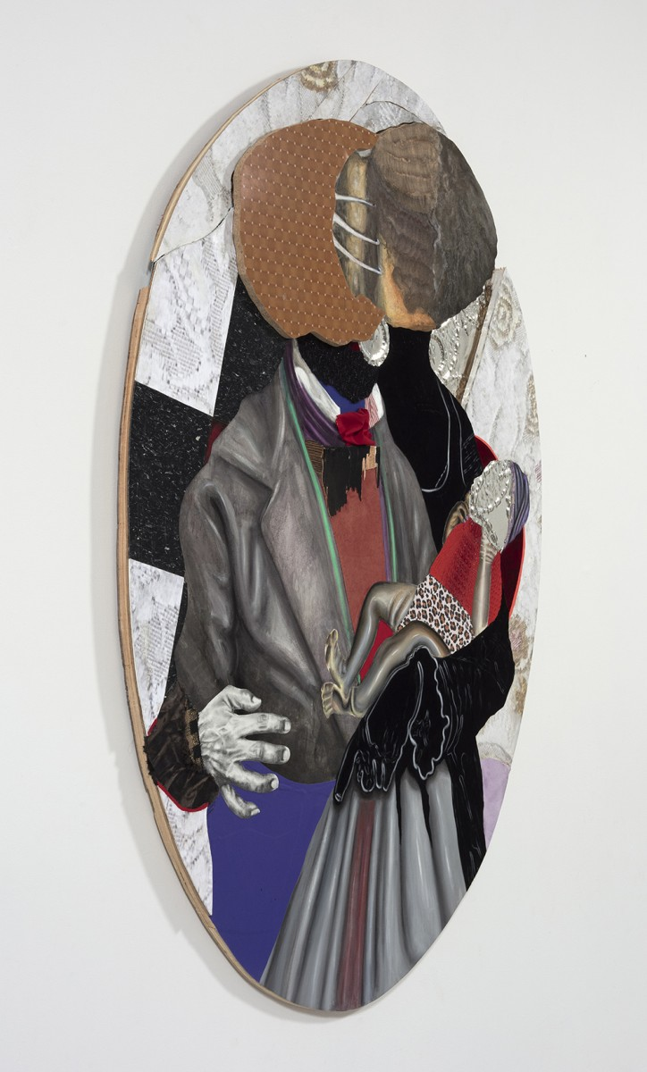 David Shrobe. <em>At A Crossroads</em>, 2020. Oil, acrylic and graphite on paper, steel, wood, flocking, wool tweed, faux suede, vinyl, fabric, linen and bookbinding cloth mounted on carved wood, 77 x 55 x 2 inches (195.6 x 139.7 x 5.1 cm) Detail