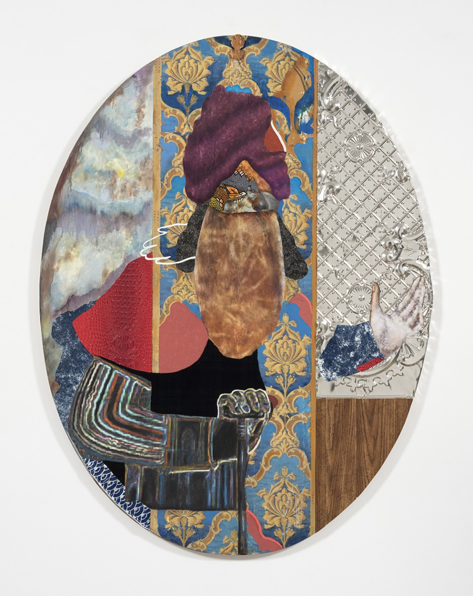 David Shrobe. <em>Walk the Air</em>, 2020. Oil, acrylic, ink, steel, tin, gold leaf, wood, canvas, bookbinding cloth, sandpaper, faux leather and plastic merchandise bag mounted on wood, 63 1/2 x 48 1/2 x 1 3/4 inches (161.3 x 123.2 x 4.4 cm)