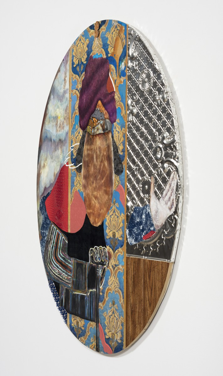 David Shrobe. <em>Walk the Air</em>, 2020. Oil, acrylic, ink, steel, tin, gold leaf, wood, canvas, bookbinding cloth, sandpaper, faux leather and plastic merchandise bag mounted on wood, 63 1/2 x 48 1/2 x 1 3/4 inches (161.3 x 123.2 x 4.4 cm) Detail