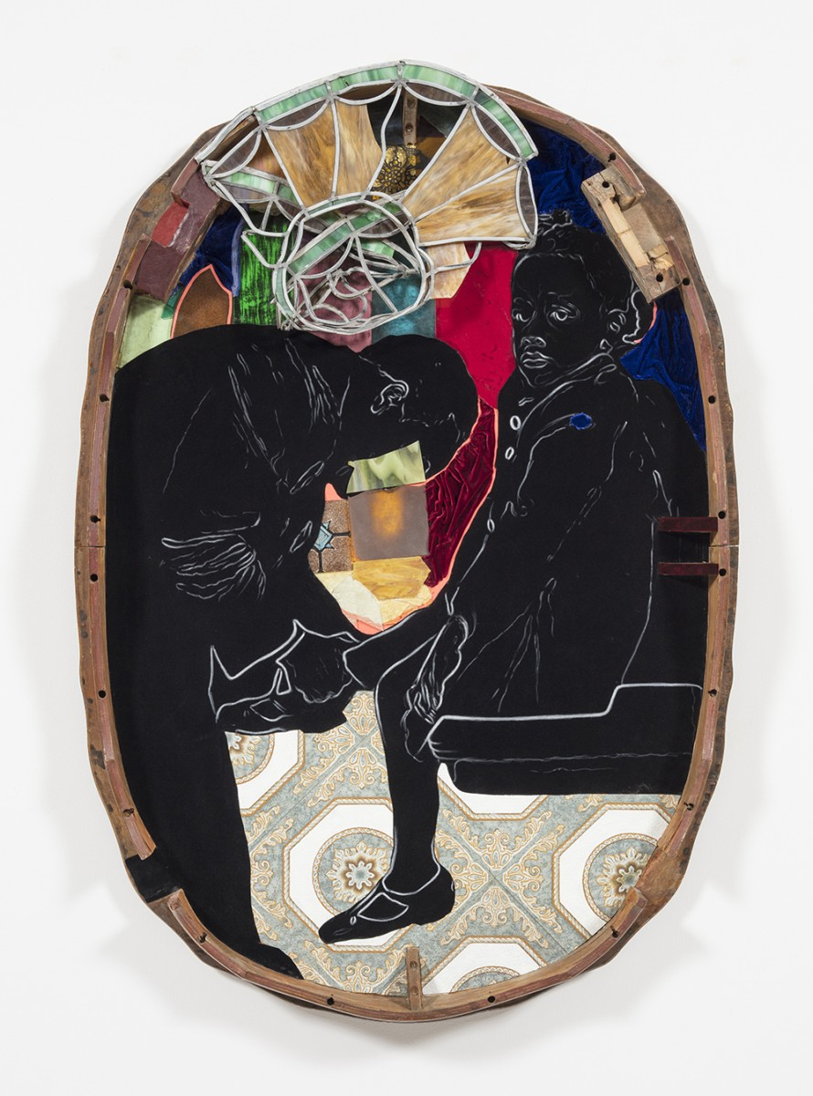 David Shrobe. <em>Sanctuary</em>, 2020. Oil on vinyl tiles, acrylic on flocking, leaded stained glass, wood, leather, velvet and bookbinding cloth mounted on wood table top, 60 x 43 x 4 1/2 inches (152.4 x 109.2 x 11.4 cm)