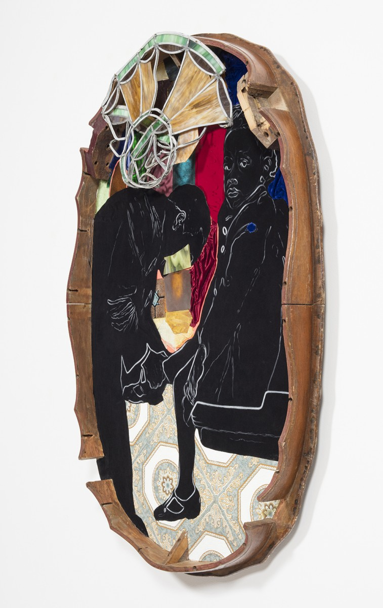 David Shrobe. <em>Sanctuary</em>, 2020. Oil on vinyl tiles, acrylic on flocking, leaded stained glass, wood, leather, velvet and bookbinding cloth mounted on wood table top, 60 x 43 x 4 1/2 inches (152.4 x 109.2 x 11.4 cm) Detail
