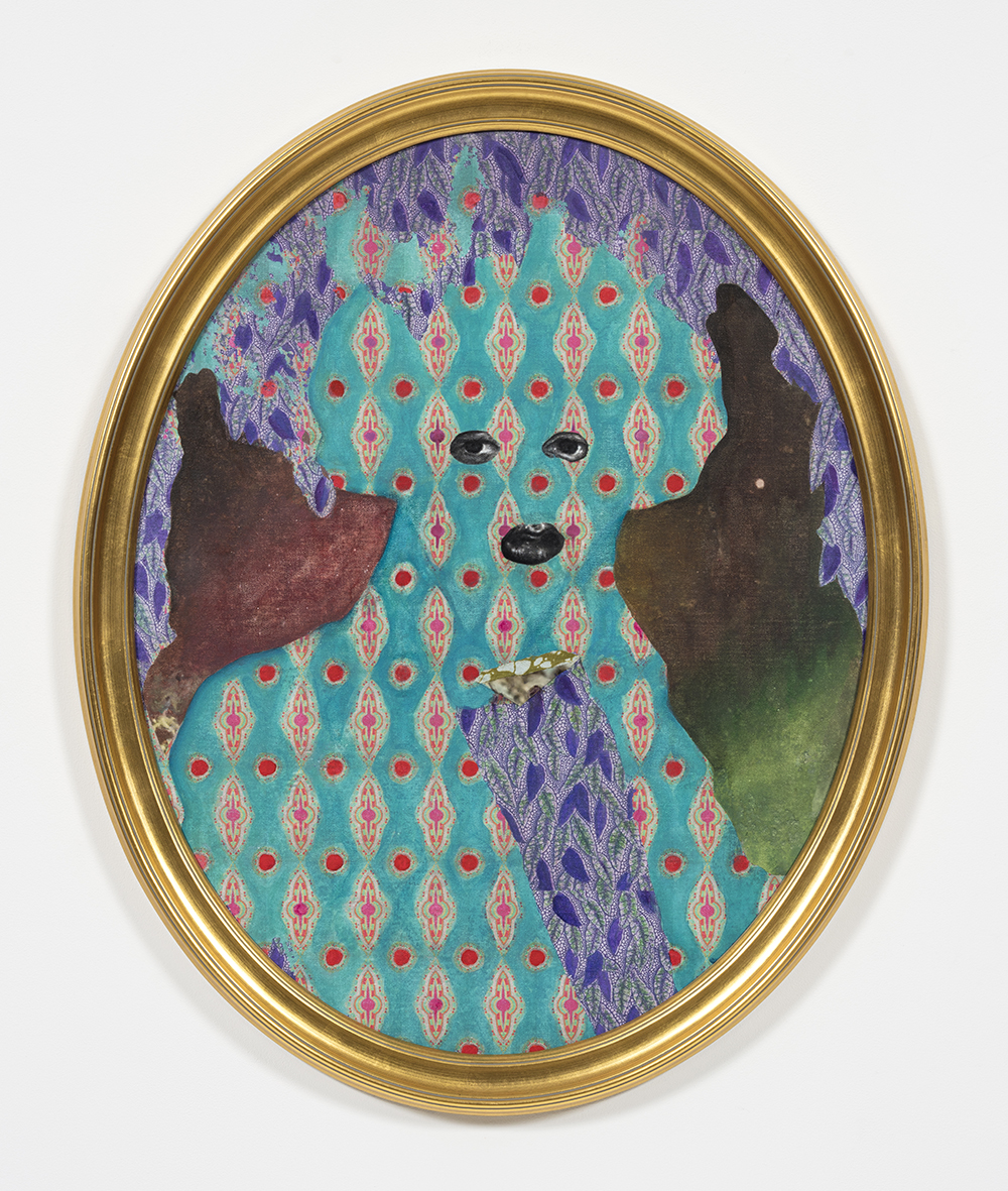 David Shrobe. <em>Shaded by Trees</em>, 2020. Acrylic, ink and African print fabric on canvas in gold leaf wood frame behind glass, 34 x 27 x 2 inches (86.4 x 68.6 x 5.1 cm)