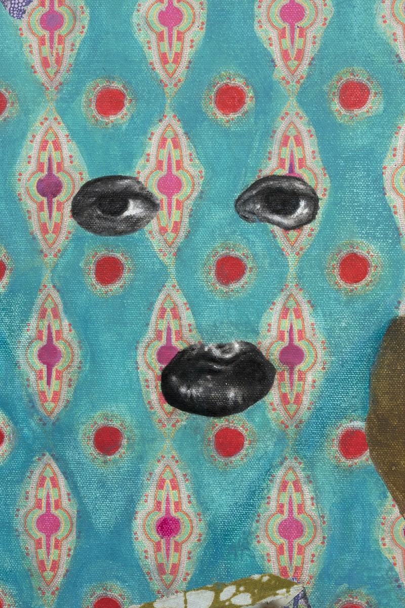 David Shrobe. <em>Shaded by Trees</em>, 2020. Acrylic, ink and African print fabric on canvas in gold leaf wood frame behind glass, 34 x 27 x 2 inches (86.4 x 68.6 x 5.1 cm) Detail