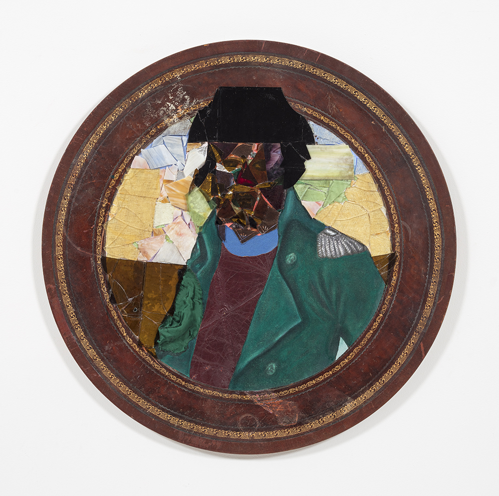 David Shrobe. <em>Smoove Sailing</em>, 2020. Oil, acrylic and ink on canvas, stained glass, tin, canvas, leather, silk and bookbinding cloth mounted on wood table top, 36 x 36 x 2 inches (91.4 x 91.4 x 5.1 cm)