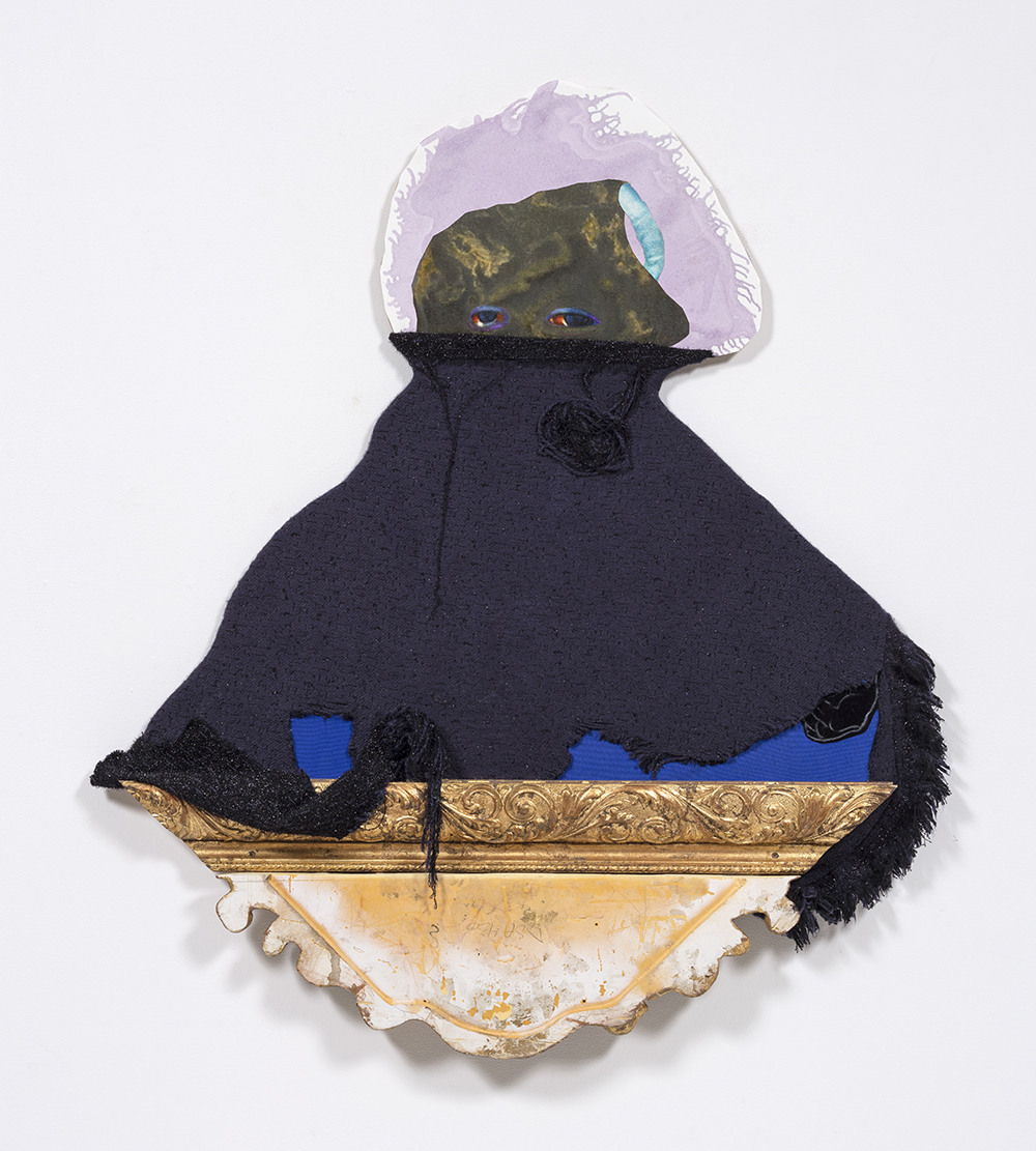 David Shrobe. <em>Cloaked</em>, 2020. Oil and acrylic on canvas and paper, wood, wool tweed, canvas fabric and gold leaf frame molding mounted on carved wood, 50 x 44 x 3 1/2 inches (127 x 111.8 x 8.9 cm)