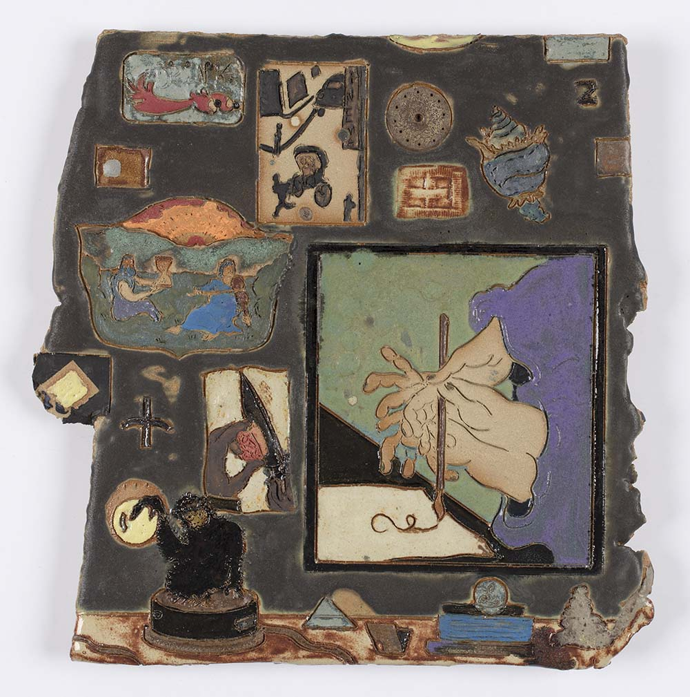 Kevin McNamee-Tweed. <em>Window Shopping</em>, 2020. Glazed ceramic, 10 3/4 x 10 1/2 inches (27.3 x 26.7 cm)