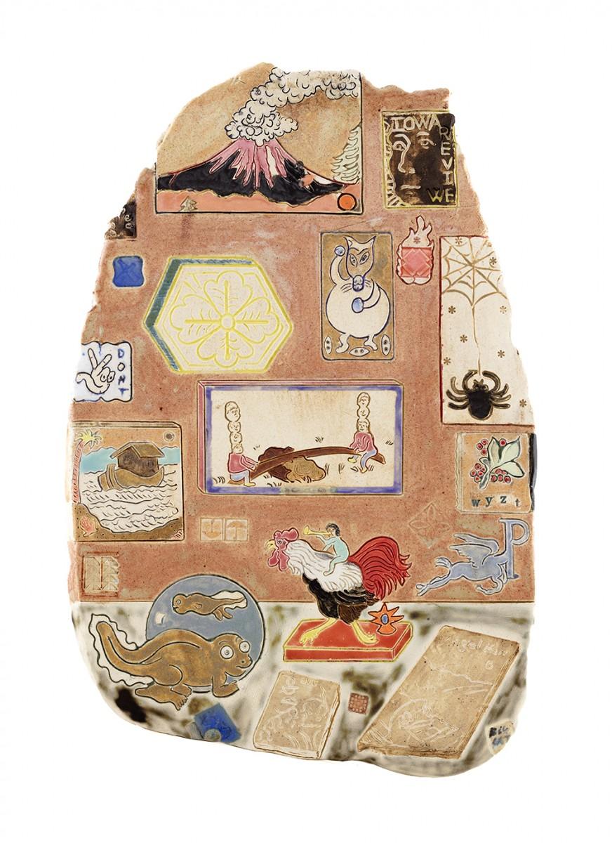 Kevin McNamee-Tweed. <em>TXT</em>, 2020. Glazed ceramic, 17 1/4 x 11 3/8 inches (43.8 x 28.9 cm)