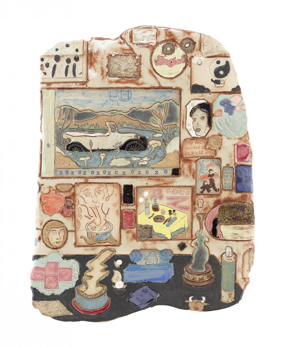 Kevin McNamee-Tweed. <em>Use Side Door</em>, 2020. Glazed ceramic, 15 3/8 x 11 3/4 inches (39.1 x 29.8 cm)