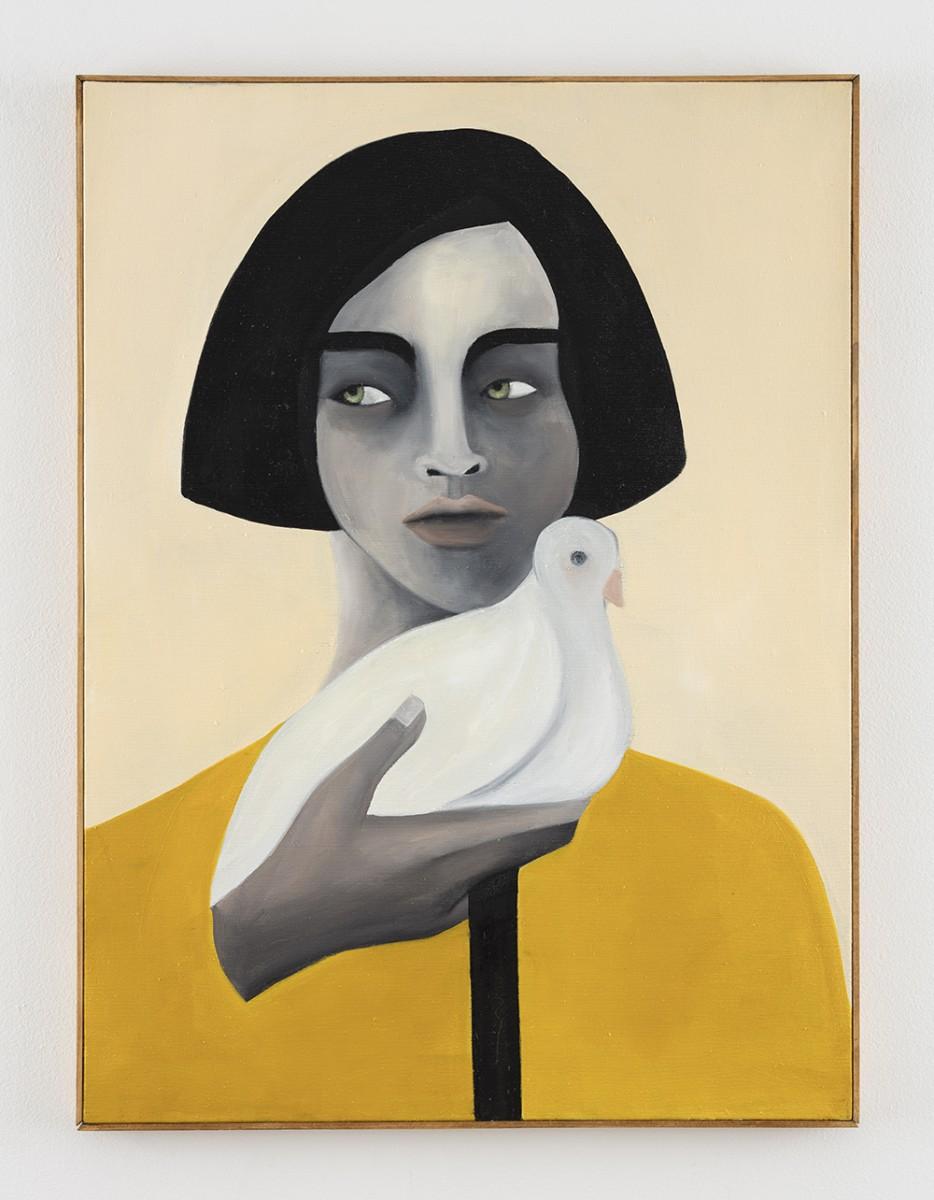 Rebecca Brodskis. <em>Quelques Minutes Avant Le Départ</em>, 2020. Oil on linen, 31 7/8 x 23 5/8 inches (81 x 60 cm)