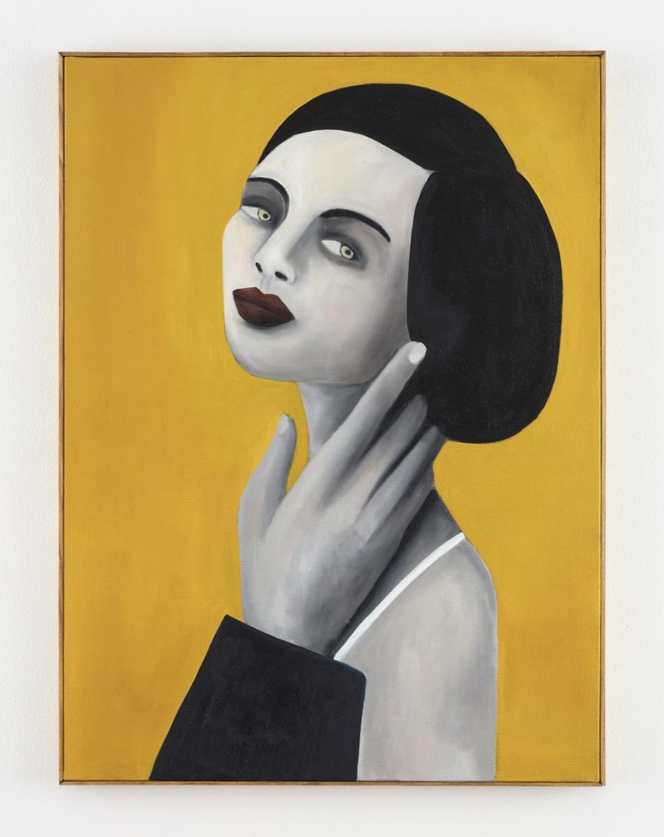 Rebecca Brodskis. <em>La Caresse</em>, 2020. Oil on linen, 31 7/8 x 23 5/8 inches (81 x 60 cm)