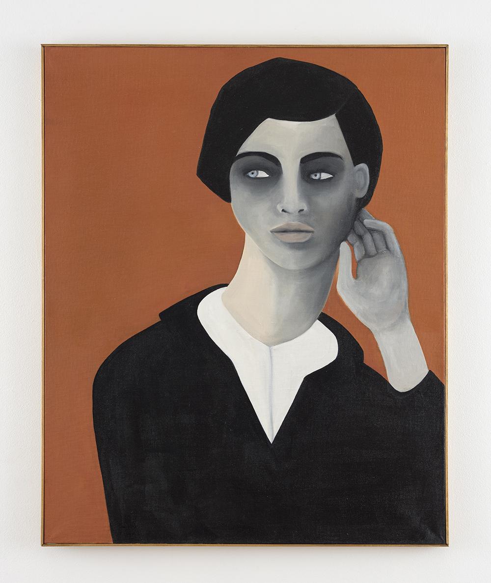 Rebecca Brodskis. <em>The Listener</em>, 2020. Oil on linen, 39 3/8 x 31 7/8 inches (100 x 81 cm)