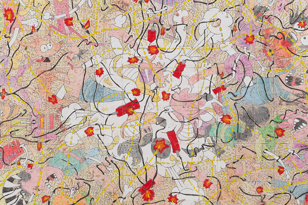 Camilo Restrepo. <em>Pescando Con Dinamita 2</em>, 2020. Ink, water-soluble wax pastel, acrylic, tape and saliva on paper, 57 1/4 x 57 1/4 inches (145.4 x 145.4 cm) Detail
