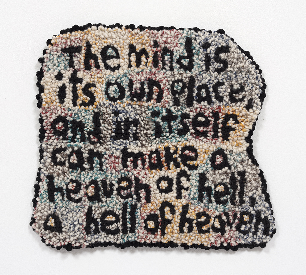 Hannah Epstein. <em>Paradise Lost</em>, 2020. Wool, acrylic, cotton and burlap, 16 x 18 inches (40.6 x 45.7 cm)