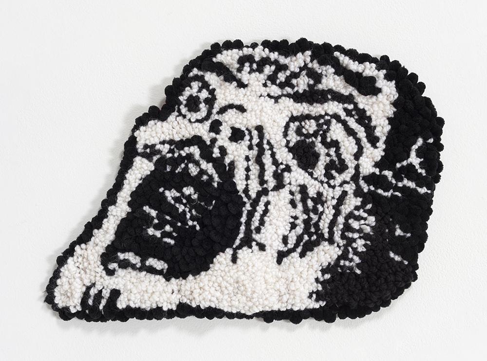 Hannah Epstein. <em>Horror</em>, 2020. Wool, acrylic, cotton and burlap, 12 x 16 inches (30.5 x 40.6 cm)