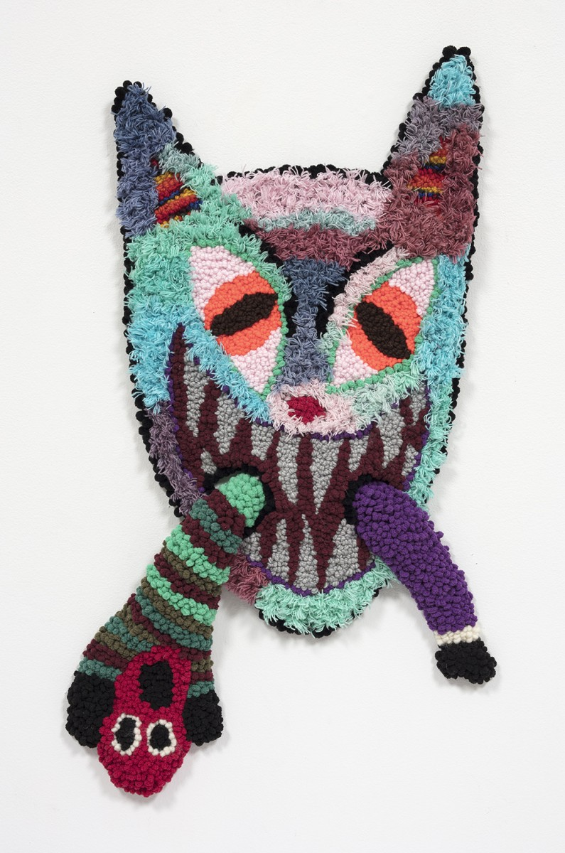 Hannah Epstein. <em>Chewy</em>, 2020. Wool, acrylic, cotton and burlap, 32 x 25 inches (81.3 x 63.5 cm)