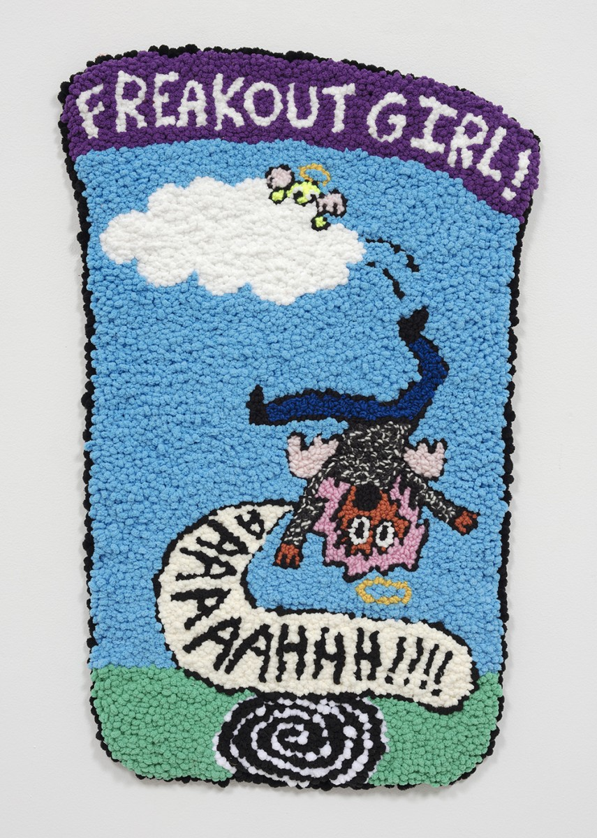 Hannah Epstein. <em>The Fall of Freakout Girl</em>, 2020. Wool, acrylic, cotton and burlap, 32 x 19 inches (81.3 x 48.3 cm)