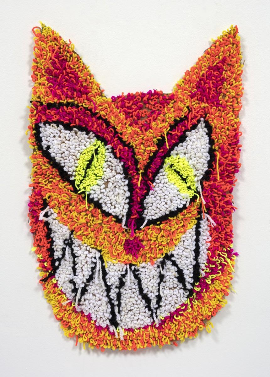 Hannah Epstein. <em>Neon God</em>, 2020. Acrylic, cotton, burlap and spray paint, 30 x 19 inches (76.2 x 48.3 cm)