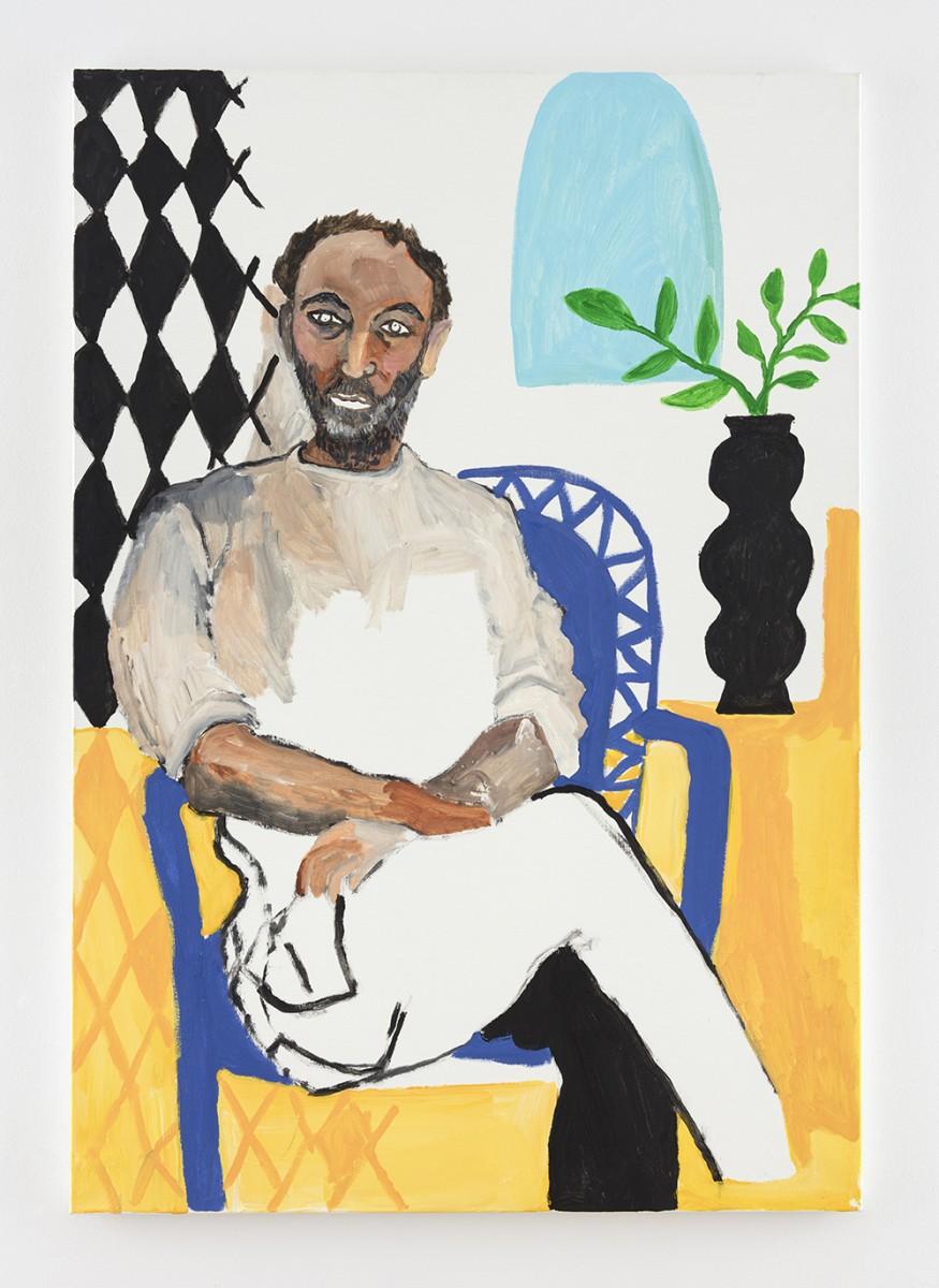 Shirley Villavicencio Pizango. <em>Collector of Lonely Days</em>, 2020. Acrylic on canvas, 51 1/8 x 35 3/8 inches (130 x 90 cm)