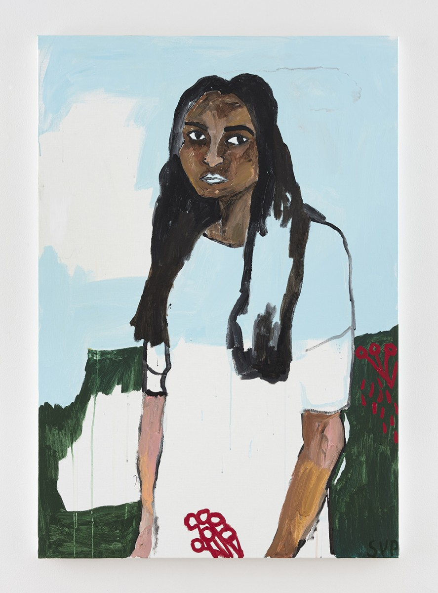 Shirley Villavicencio Pizango. <em>Leave Me in the Sound of Your Goodbye</em>, 2020. Acrylic on canvas, 51 1/8 x 35 3/8 inches (130 x 90 cm)