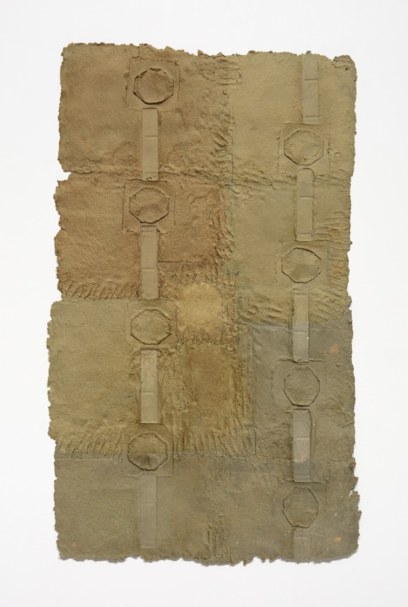 Aryana Minai. <em>Release The Held and Hold The Built I</em>, 2020. Dyed handmade paper, 54 x 32 inches (137.2 x 81.3 cm)