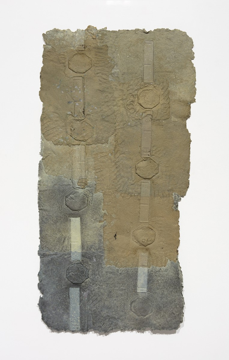 Aryana Minai. <em>Release The Held and Hold The Built II</em>, 2020. Dyed handmade paper, 56 x 28 inches (142.2 x 71.1 cm)