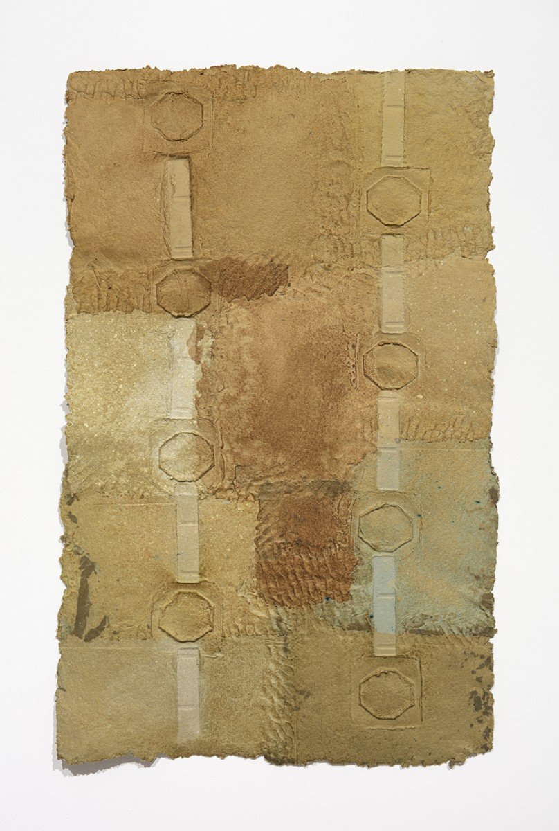 Aryana Minai. <em>Release The Held and Hold The Built III</em>, 2020. Dyed handmade paper, 54 x 34 inches (137.2 x 86.4 cm)