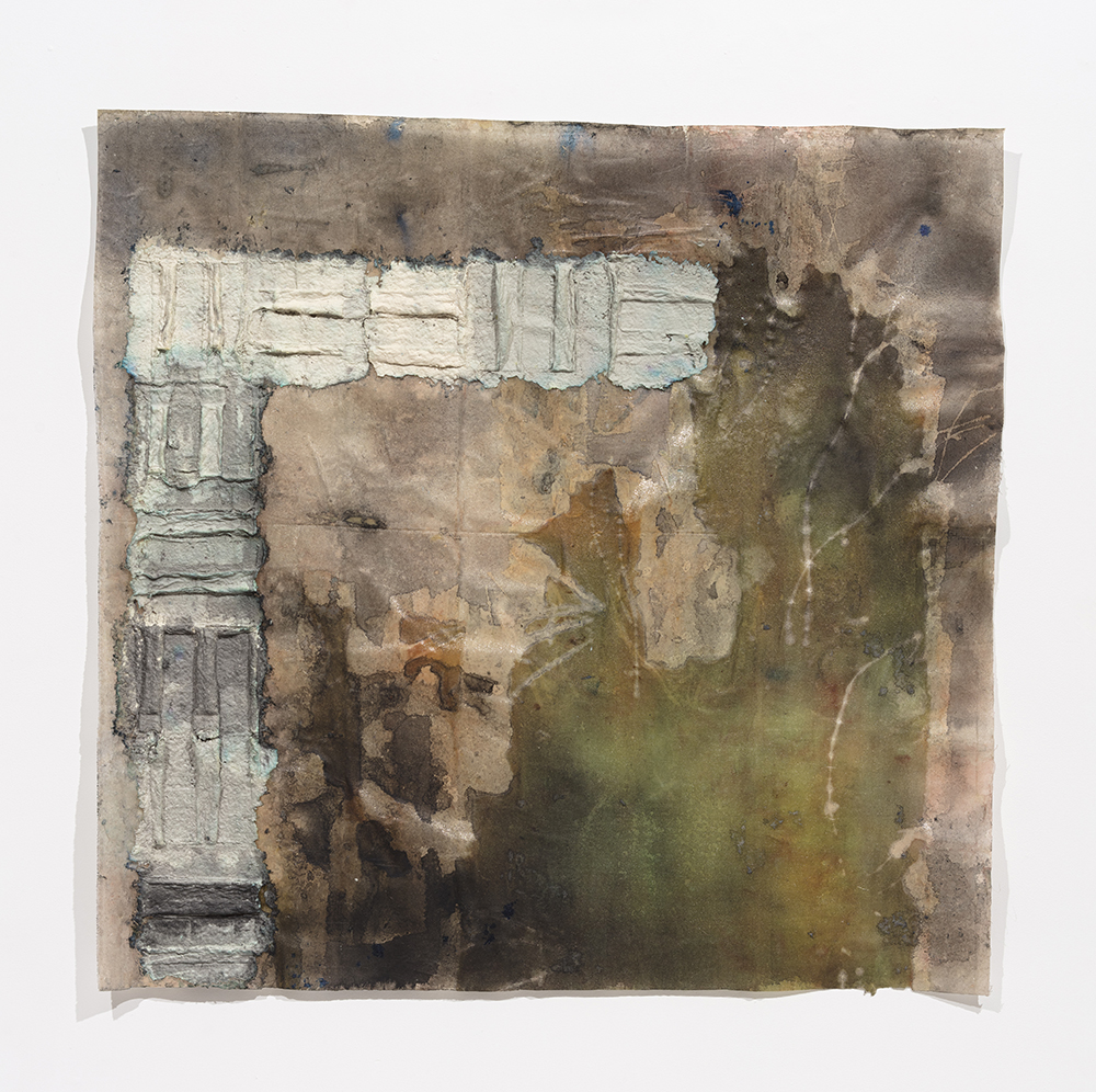 Aryana Minai. <em>Front and Above II</em>, 2020. Dyed handmade paper on resin, 53 x 54 1/2 inches (134.6 x 138.4 cm)