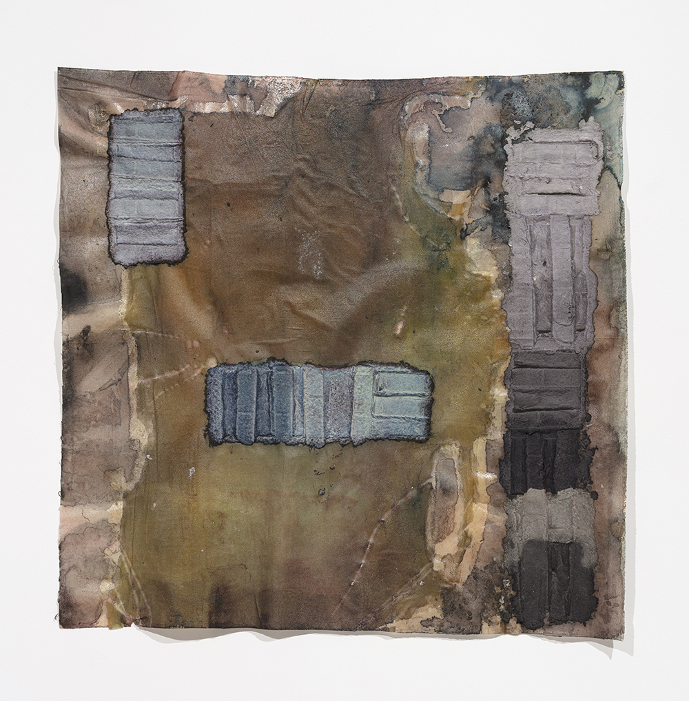 Aryana Minai. <em>Front and Above I</em>, 2020. Dyed handmade paper on resin, 53 x 53 inches (134.6 x 134.6 cm)