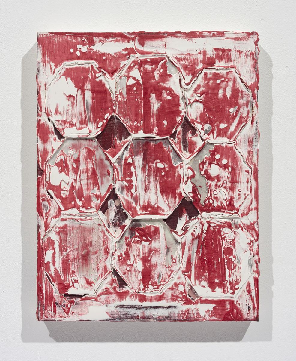 Aryana Minai. <em>Nine octagon shells</em>, 2019. Acrylic and plaster on canvas, 15 x 11 3/4 inches (38.1 x 29.8 cm)