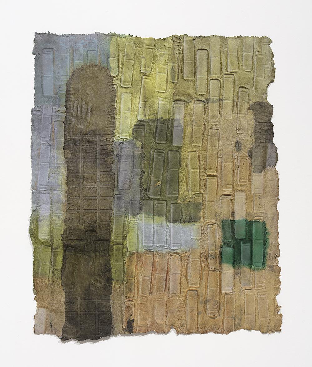 Aryana Minai. <em>Down the street or Across the World</em>, 2020. Dyed handmade paper, 52 x 43 inches (132.1 x 109.2 cm)