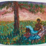 Jarrett Key. Sunset with Jarrett, 2020. Oil on cement (fresco), 10 1/2 x 13 1/4 inches (26.7 x 33.7 cm)