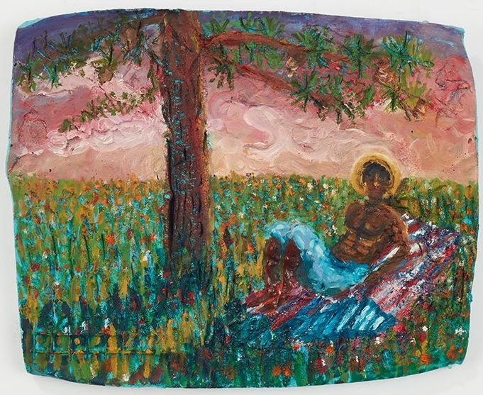Jarrett Key. Sunset with Jarrett, 2020. Oil on cement (fresco), 10 1/2 x 13 1/4 inches (26.7 x 33.7 cm)