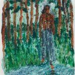 Jarrett Key. Dipping a Toe, 2020. Oil on cement (fresco), 13 3/4 x 10 1/2 inches (34.9 x 26.7 cm)
