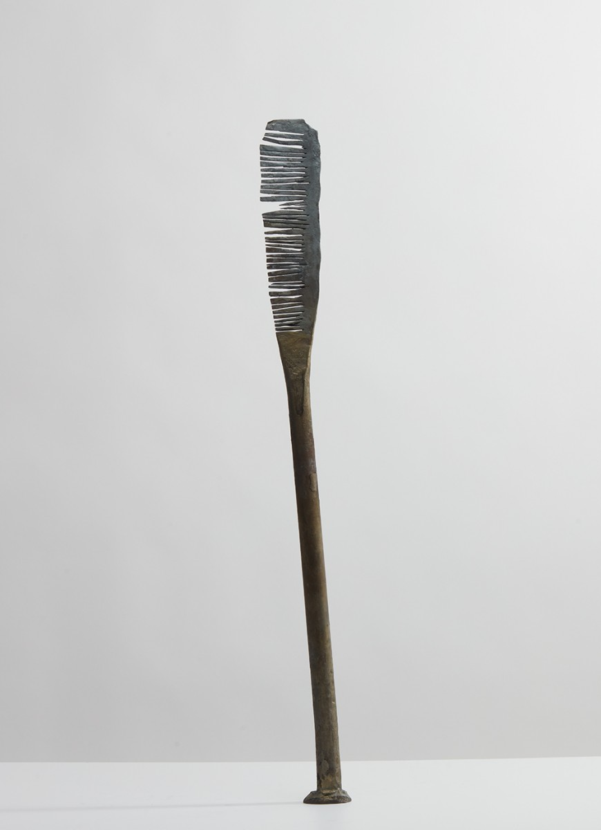"Jarrett Key. Hot Comb No. 3 ""Snaggle Tooth"", 2020. Black forged steel with bronze burnishing, 29 1/2 x 2 1/2 x 2 inches (74.9 x 6.4 x 5.1 cm)"
