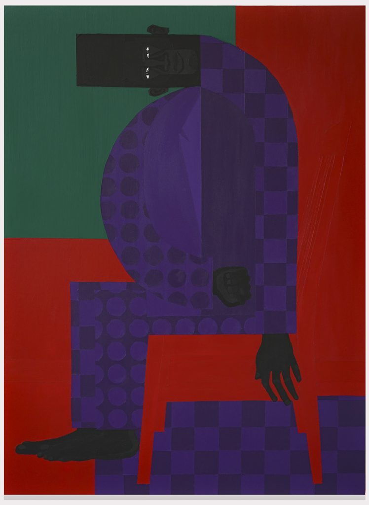 Jon Key. The Man in the Violet Suit No. 13, 2019. Acrylic on canvas, 48 x 36 inches (121.9 x 91.4 cm)