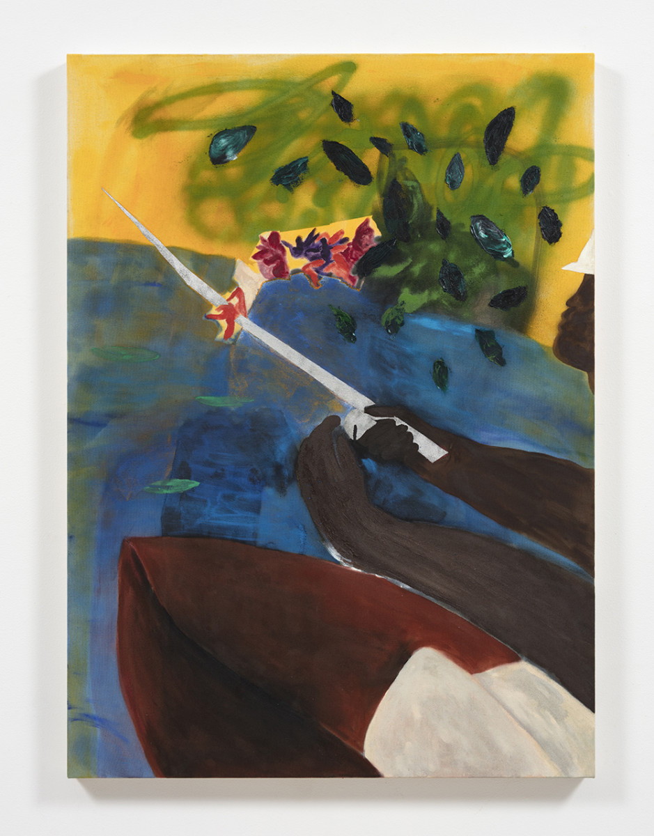 Marcus Leslie Singleton. <em>Bayaguana</em>, 2020. Oil and spray paint on linen, 48 x 35 inches (121.9 x 88.9 cm)