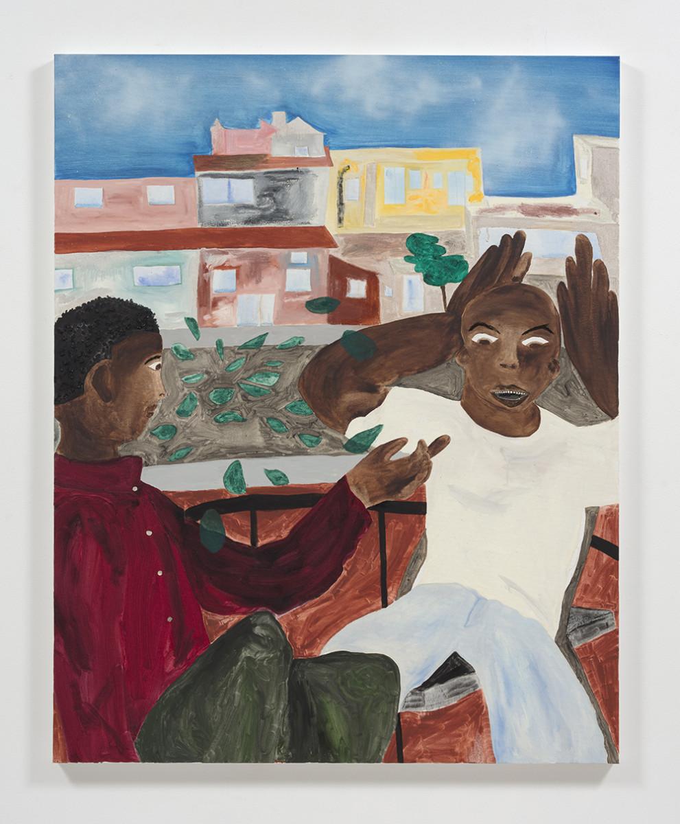 Marcus Leslie Singleton. <em>Rua do Vale de Santo</em>, 2019. Oil and spray paint on linen, 60 x 48 inches (152.4 x 121.9 cm)