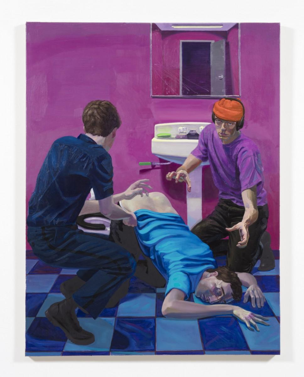 Patrick Bayly. <em>violet, bathroom</em>, 2020. Oil on linen, 65 1/2 x 49 1/2 inches (166.4 x 125.7 cm)