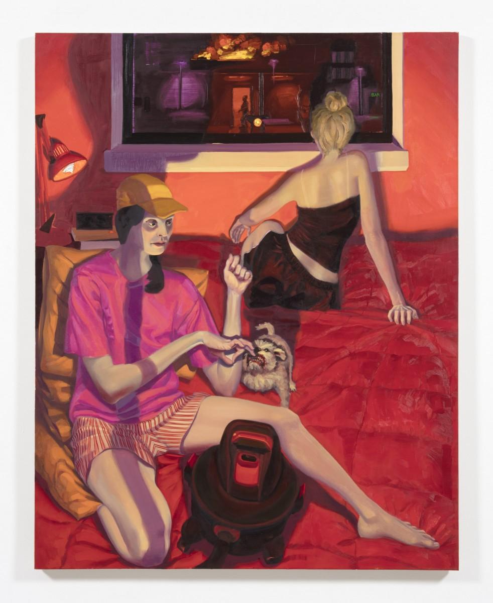 Patrick Bayly. <em>red, bedroom</em>, 2020. Oil on linen, 69 1/2 x 55 1/4 inches (176.5 x 140.3 cm)