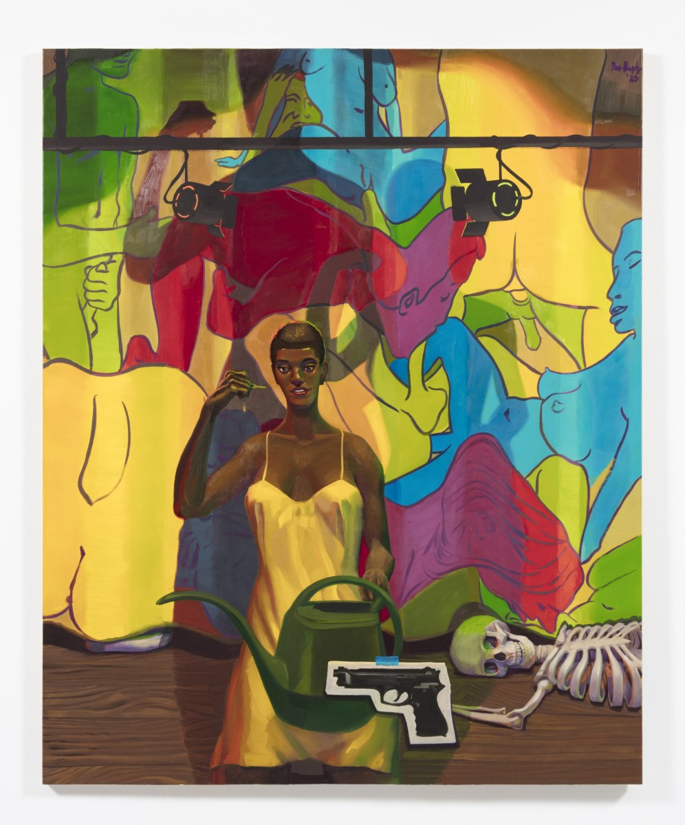Patrick Bayly. <em>yellow, stage</em>, 2020. Oil on linen, 80 x 65 inches (203.2 x 165.1 cm)