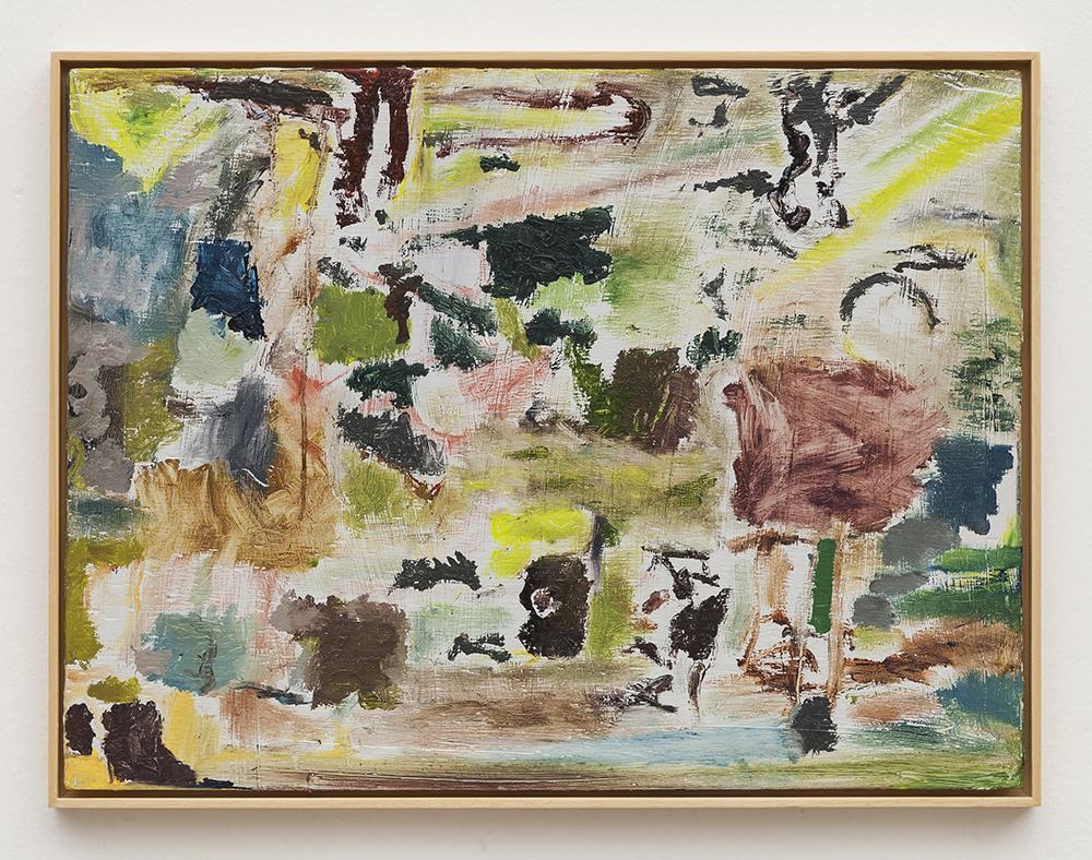 Joaquín Boz. <em>Untitled</em>, 2020. Oil on wood, 16 1/2 x 21 5/8 inches (42 x 55 cm)